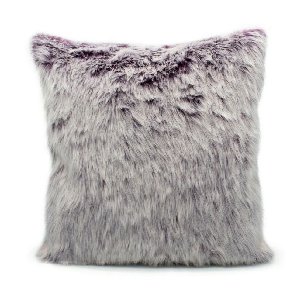 Luxury Faux Fur Sofa Scatter Cushion Super Soft Arctic Cosy Cuddly Feel, 43cm x 43cm, Ontario Purple